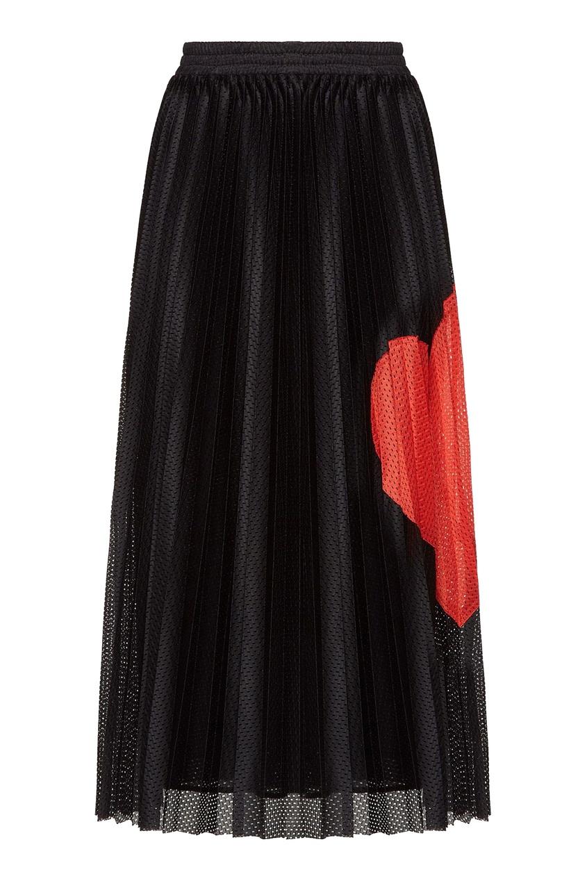 женская юбка миди red valentino, черная