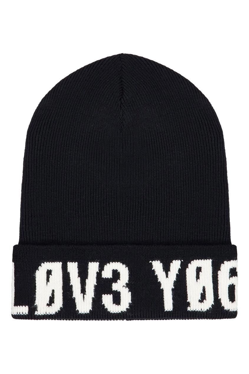 Черная шапка-бини с логотипом