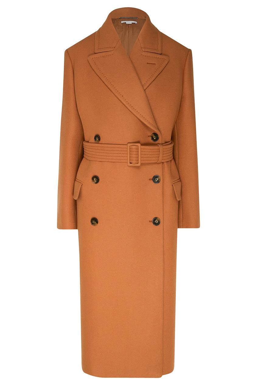 женское шерстяное пальто stella mccartney, коричневое