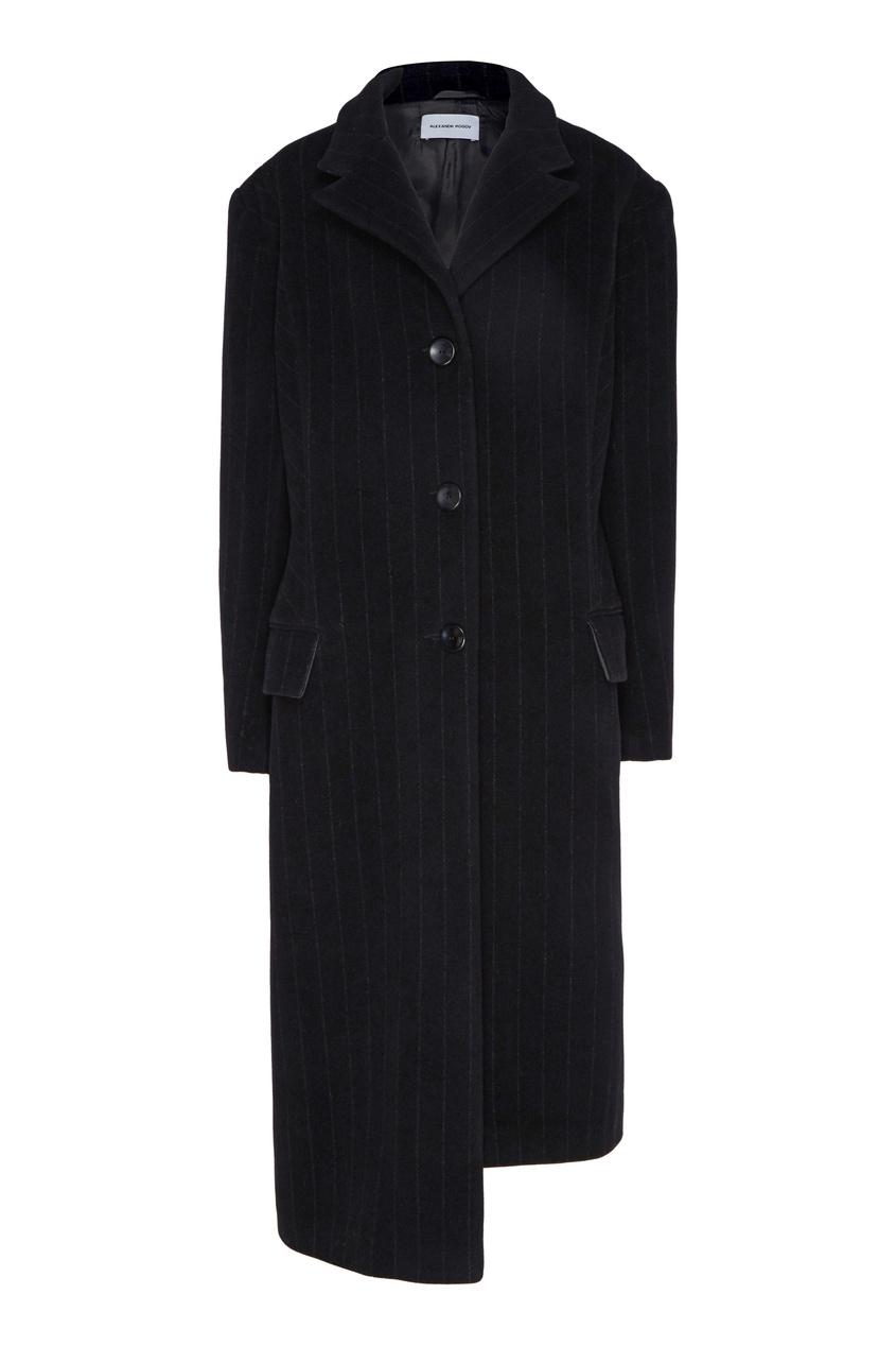 Черное пальто прямого кроя Alexandr Rogov 234163788 черный фото