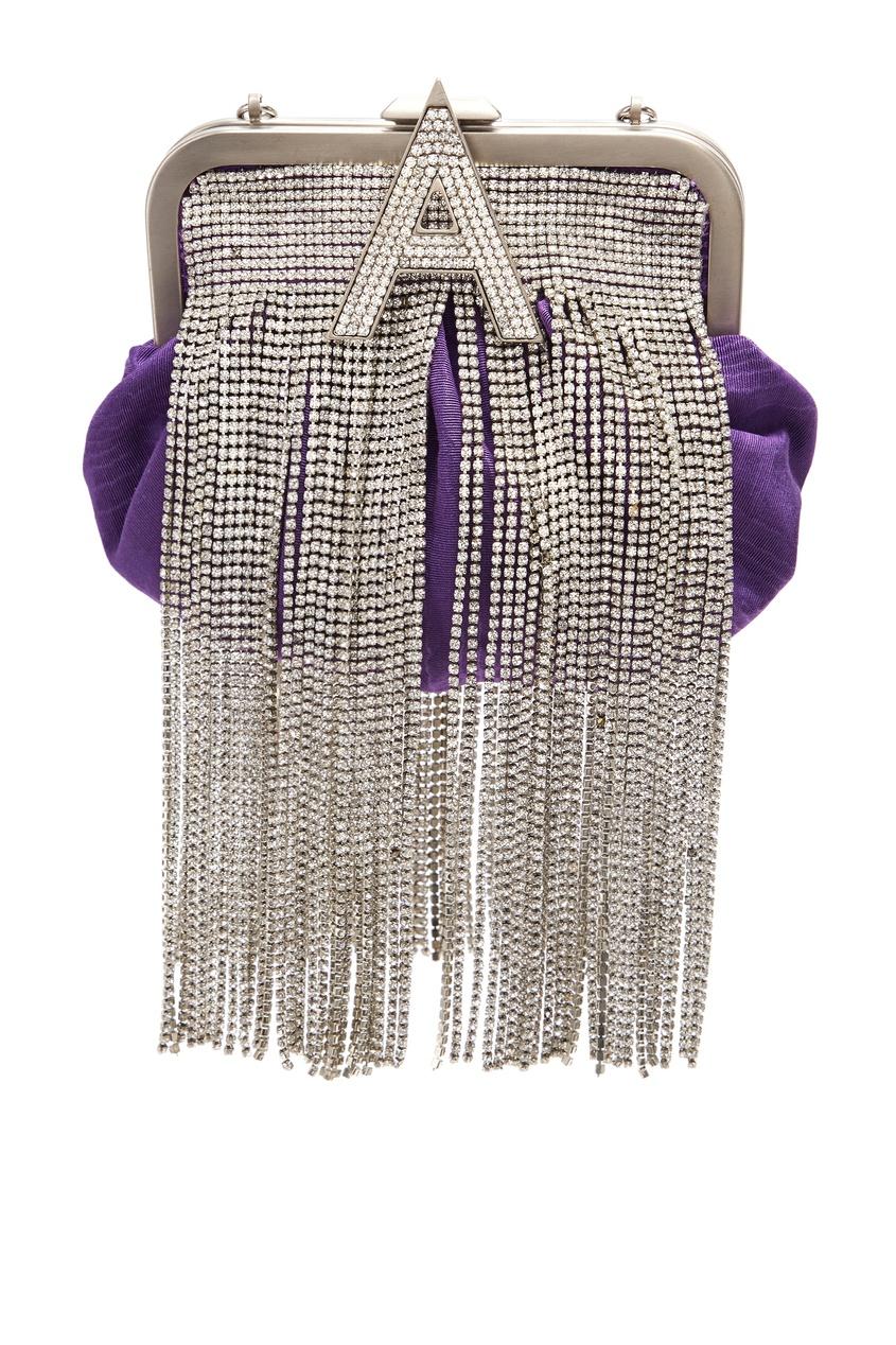 Фиолетовый ридикюль с декором из кристаллов