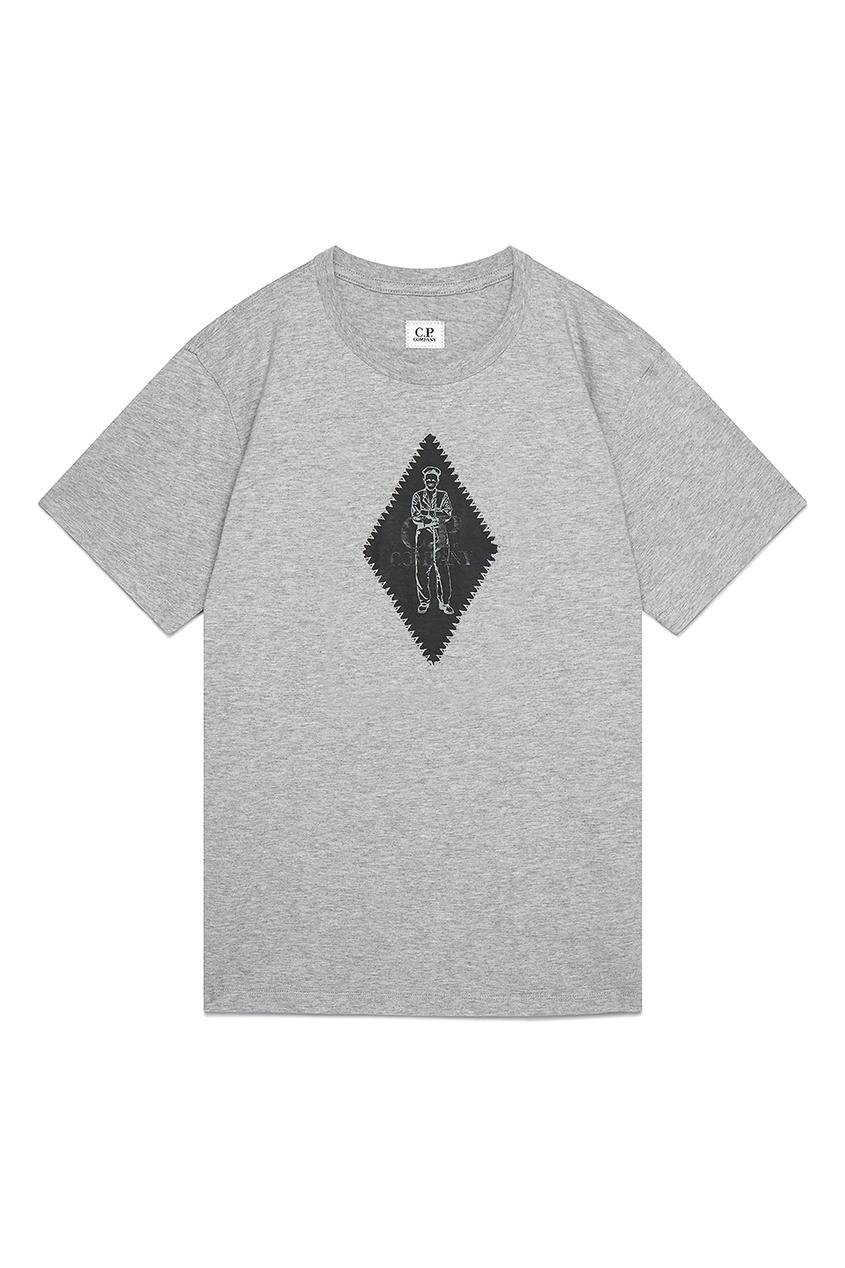 мужская футболка с принтом c.p. company, серая