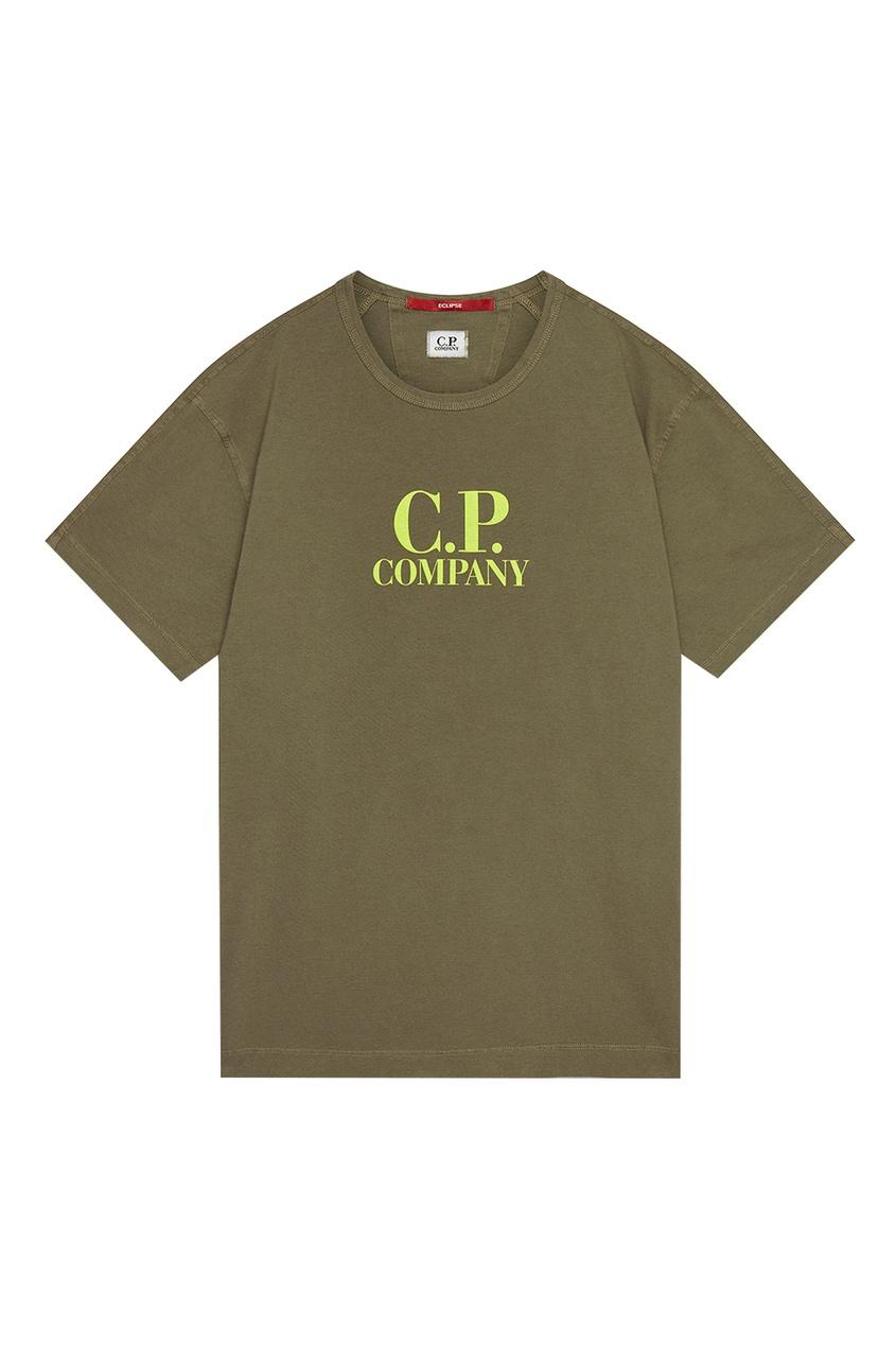 мужская футболка c.p. company, хаки