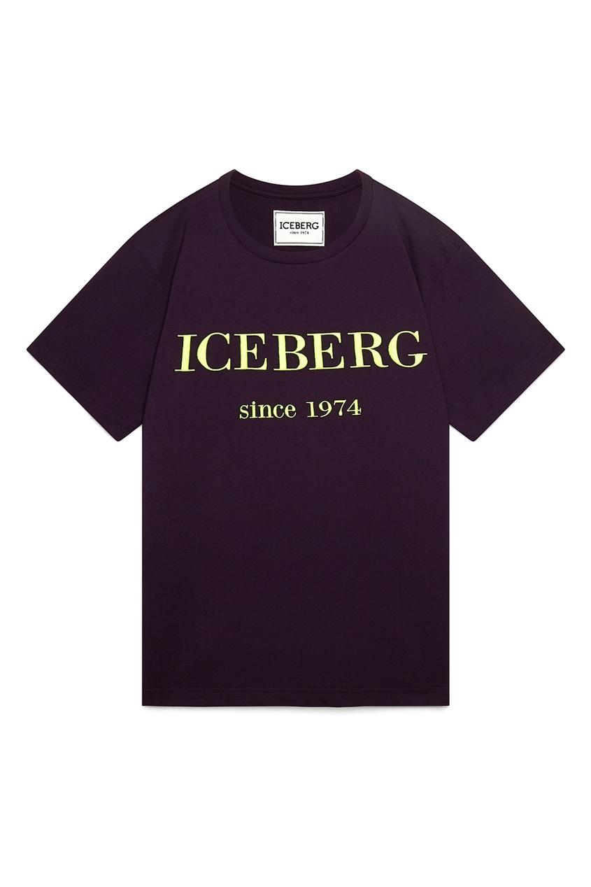мужская футболка iceberg, фиолетовая