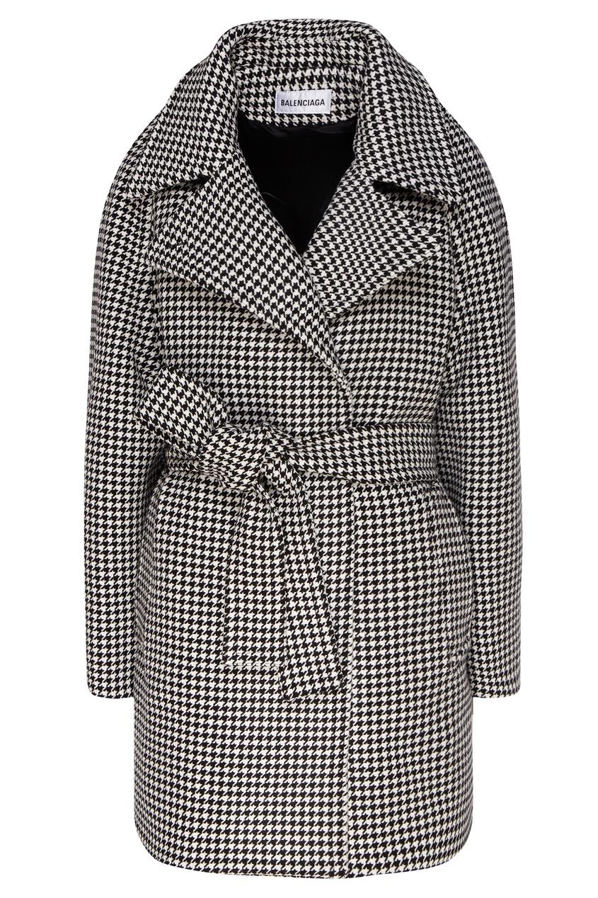 женское пальто в клетку balenciaga, черное