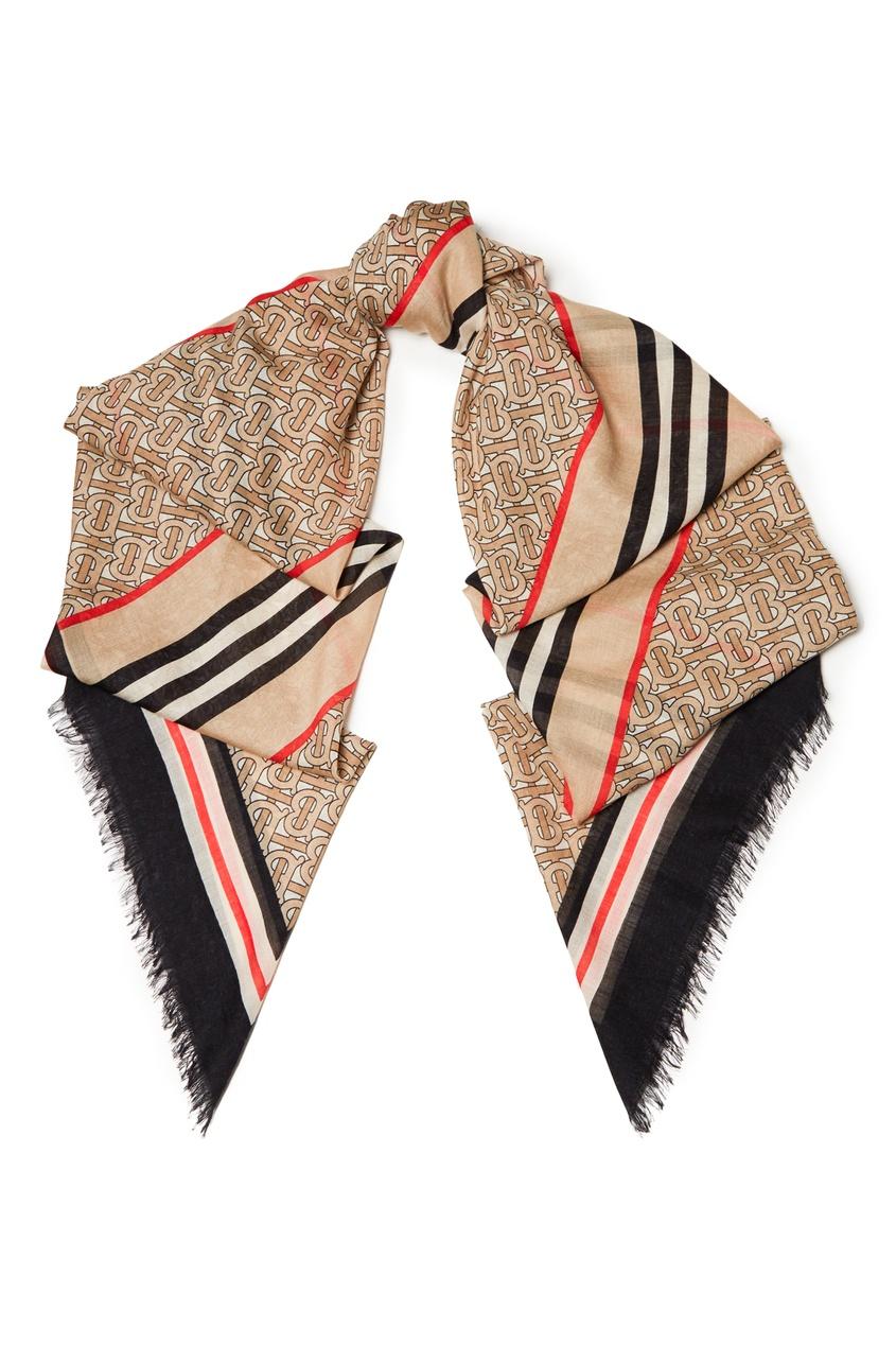 женский шарф burberry, бежевый