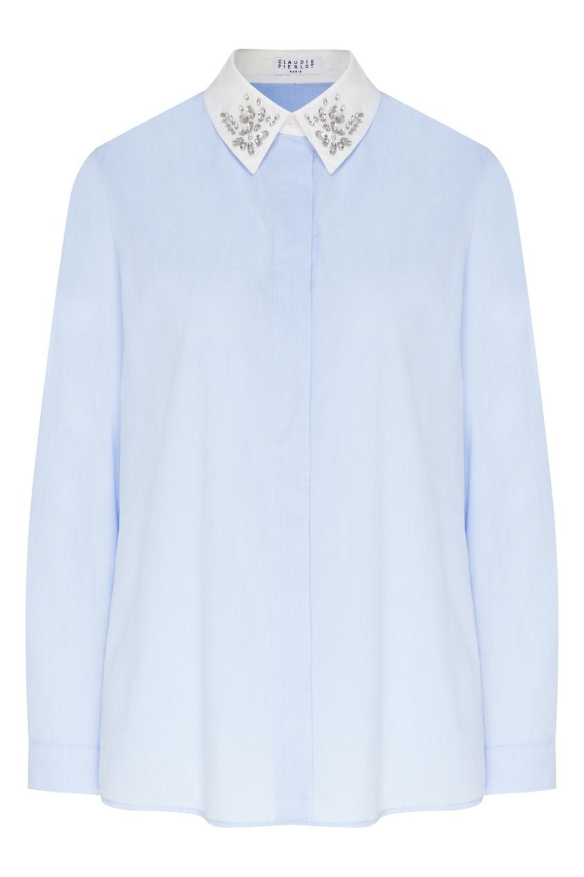 женская блузка claudie pierlot, синяя