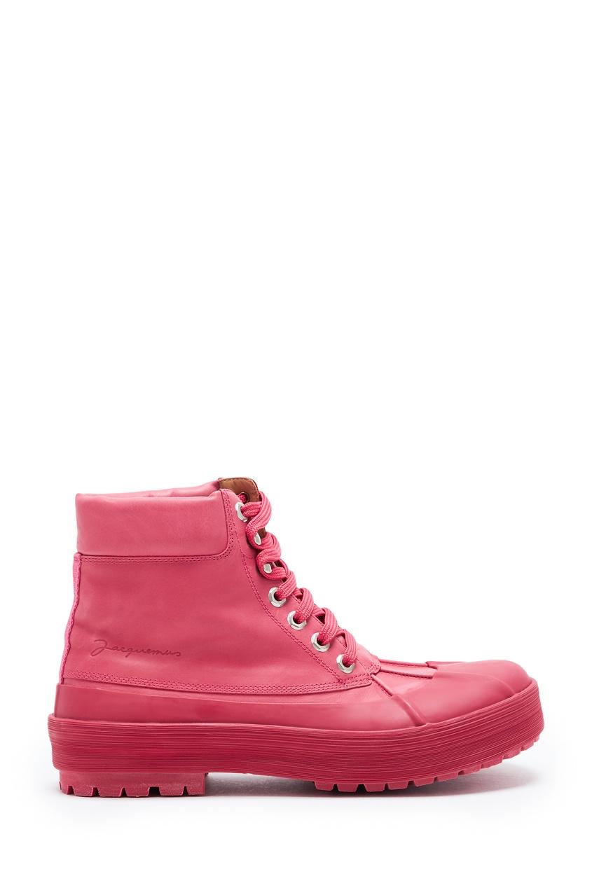 женские высокие ботинки jacquemus, розовые