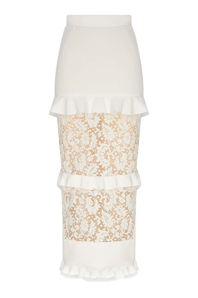 женская кружевные юбка ulyana sergeenko, белая