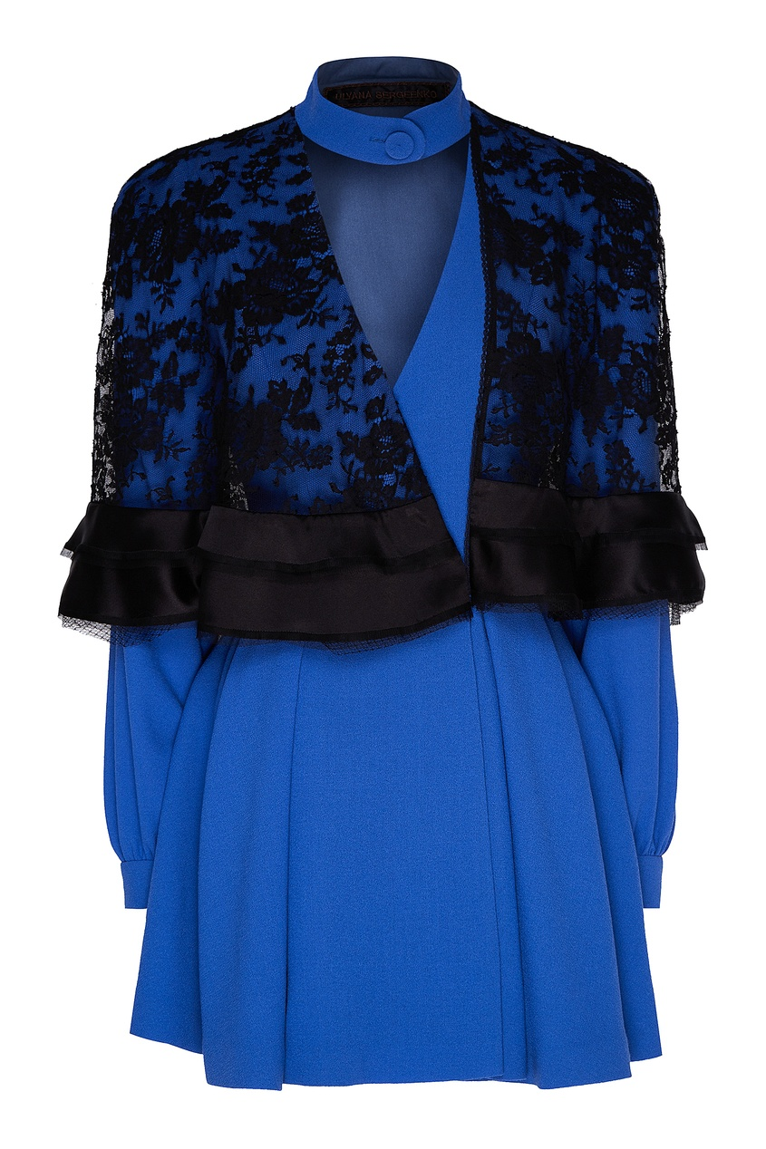 женское кружевные платье ulyana sergeenko, синее