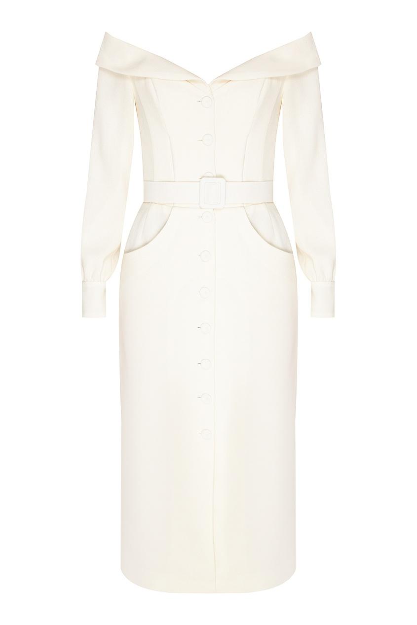 женское шерстяные платье ulyana sergeenko, белое