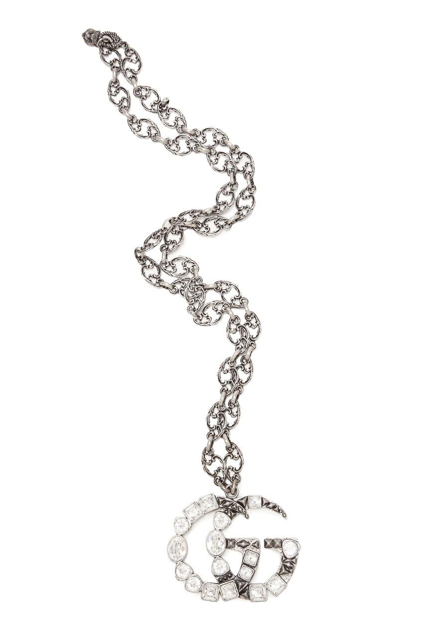 Серебристое ожерелье с монограммой от Gucci