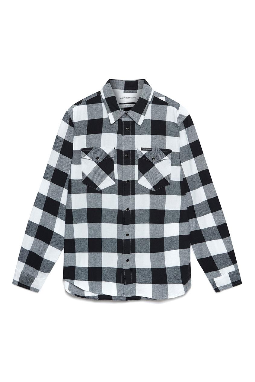 мужская рубашка в клетку calvin klein, белая