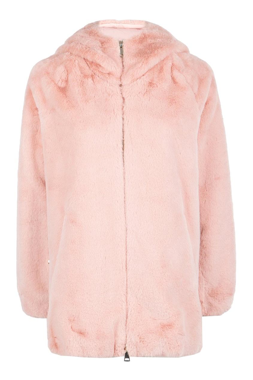 женская шуба liu jo, розовая