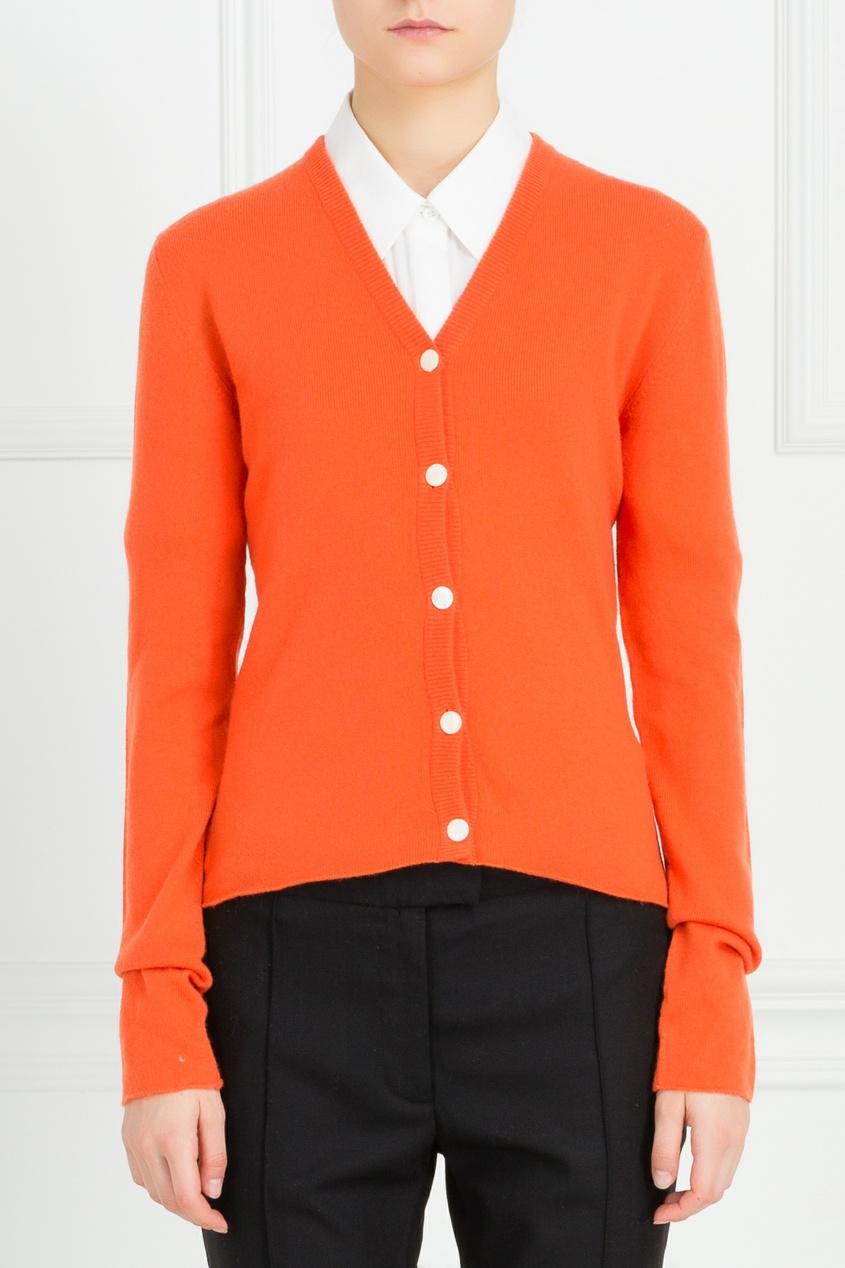 Оранжевый кашемировый кардиган от Lucien Pellat-Finet
