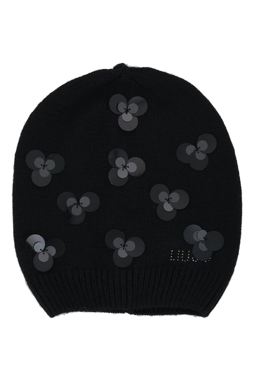 Черная шапка с декором от Liu Jo