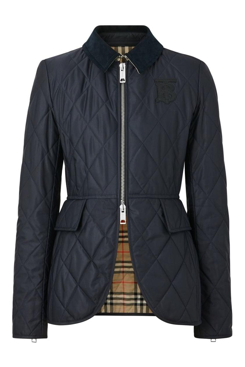 Темно-синяя стеганая куртка от Burberry