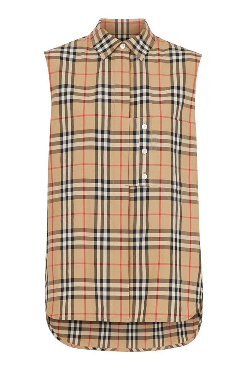 Клетчатая рубашка без рукавов Burberry бежевого цвета