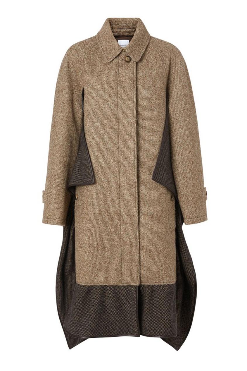 Светло-коричневое пальто с оборками Burberry коричневого цвета