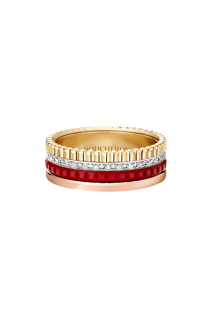 Кольцо из желтого золота, красной керамики и бриллиантов