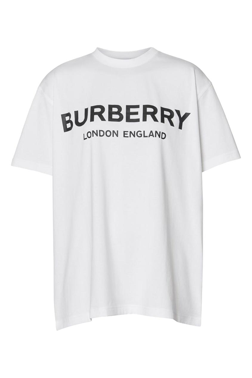 Белая футболка оверсайз от Burberry