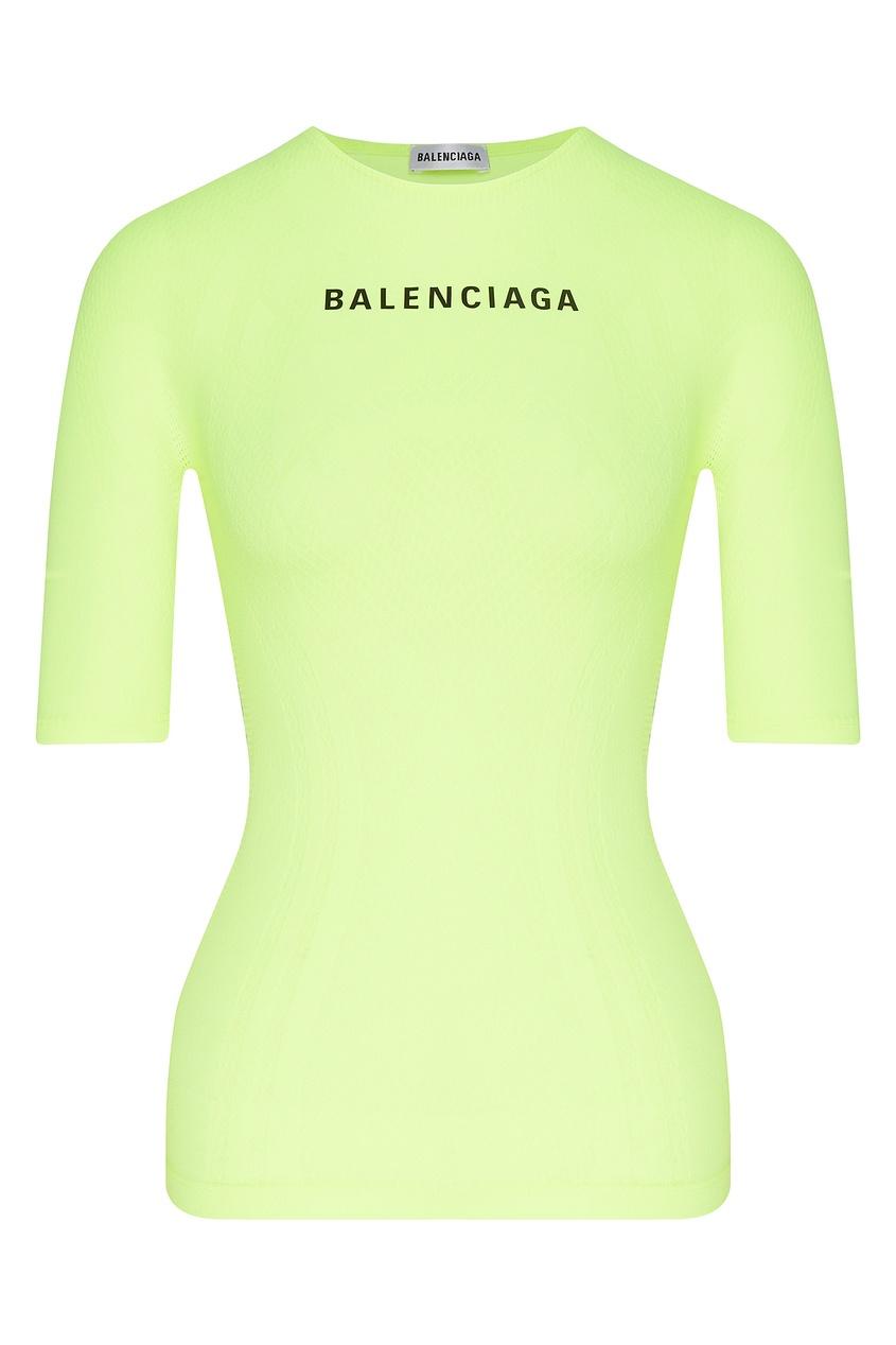 женская футболка balenciaga, желтая