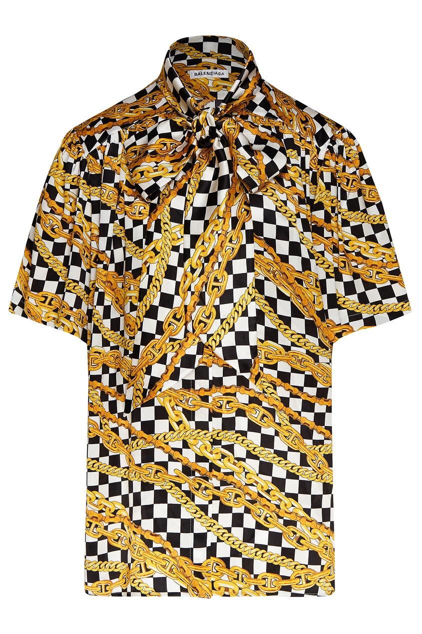 женская блузка с коротким рукавом balenciaga, черная