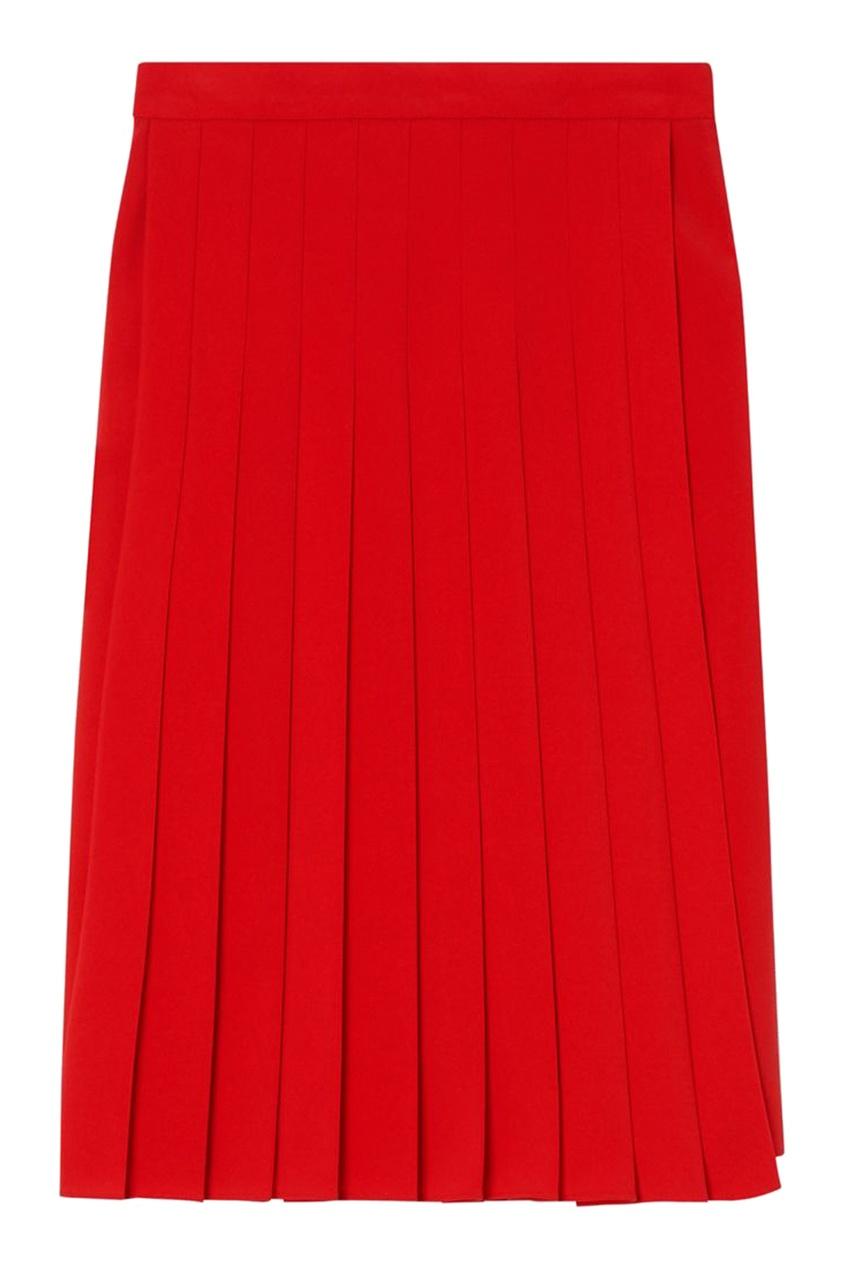 Красная юбка со складками Burberry красного цвета
