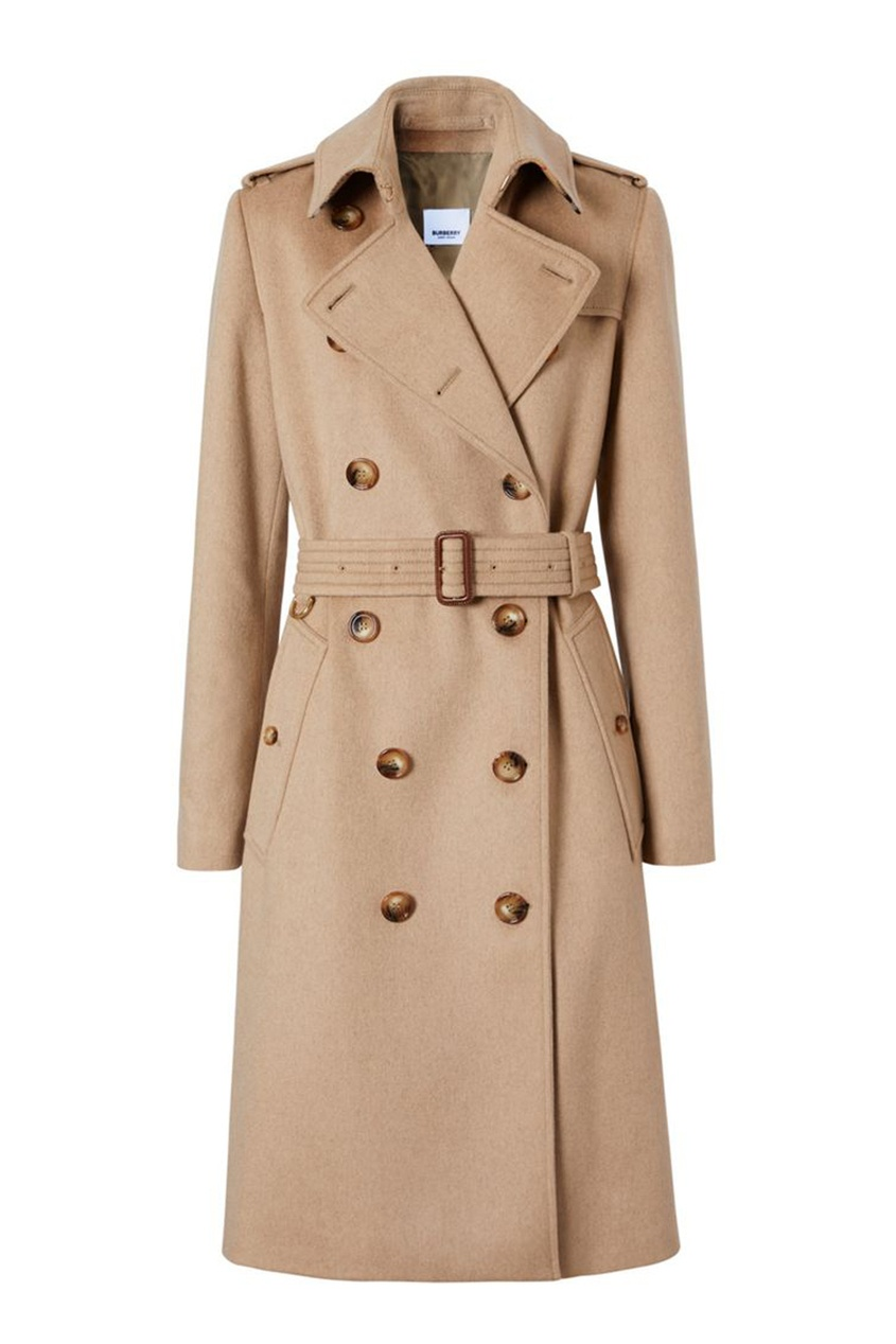 Светло-бежевое двубортное пальто