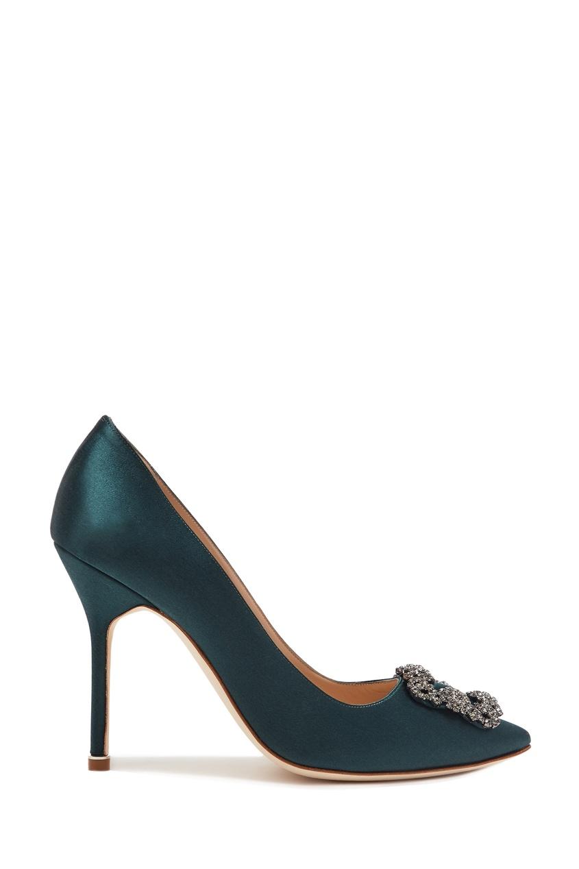 женские туфли manolo blahnik, зеленые