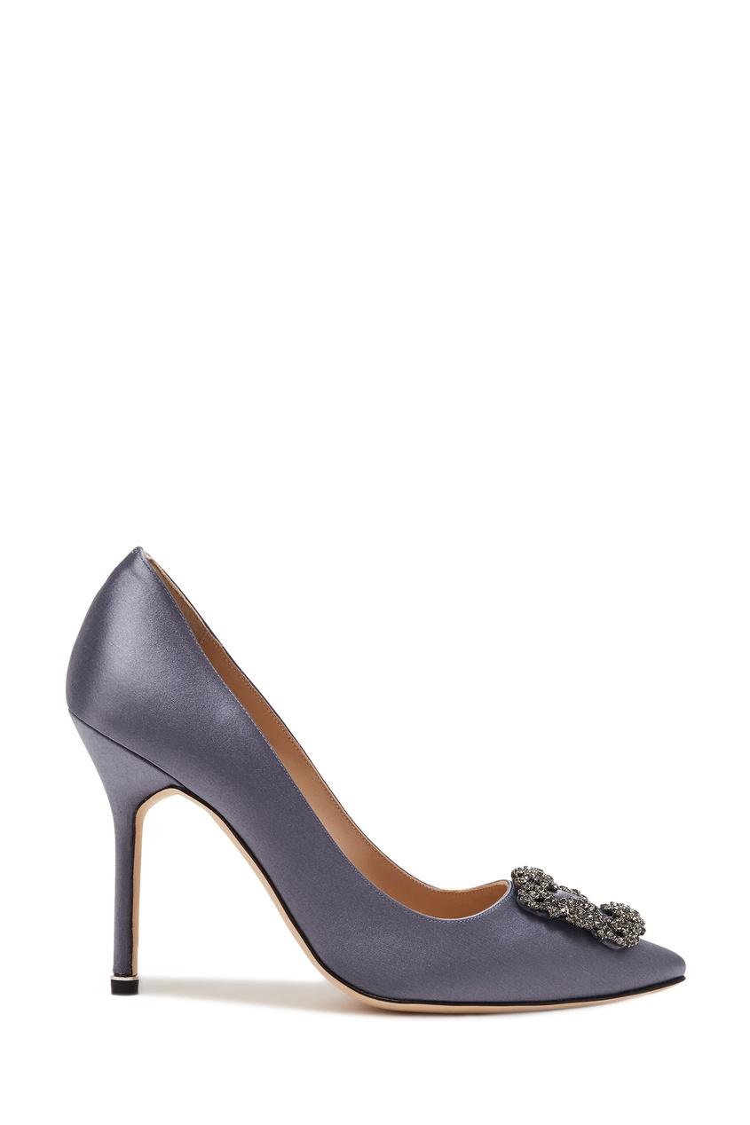 женские туфли manolo blahnik, голубые