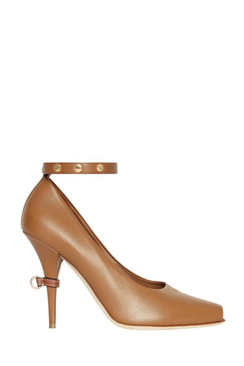 женские туфли на шпильке burberry, коричневые