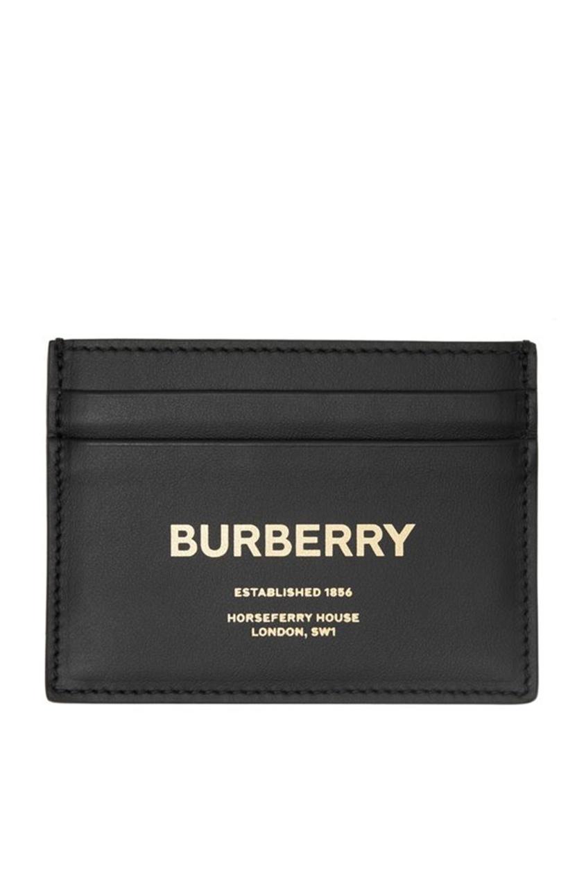 Черная визитница с золотистым логотипом от Burberry