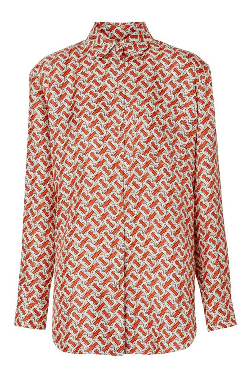 Блузка с узором Burberry красного цвета
