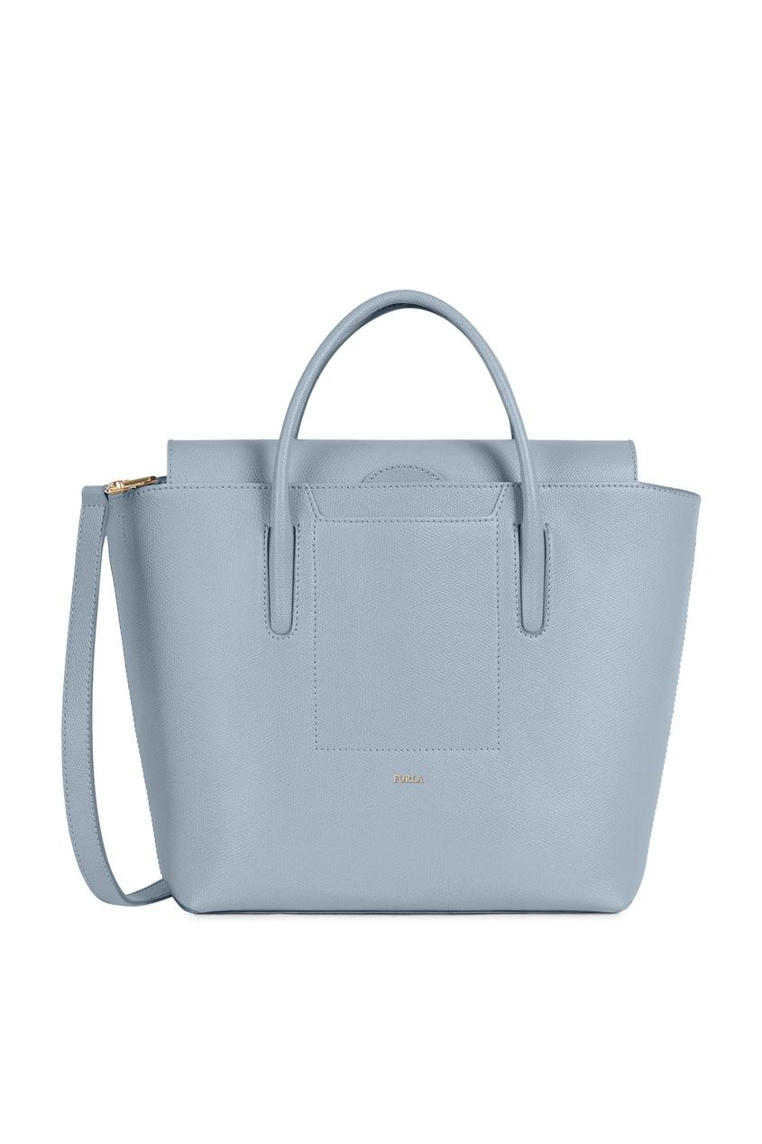 женская кожаные сумка furla, серая