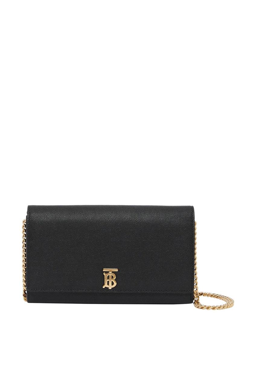 Черный бумажник с цепочкой