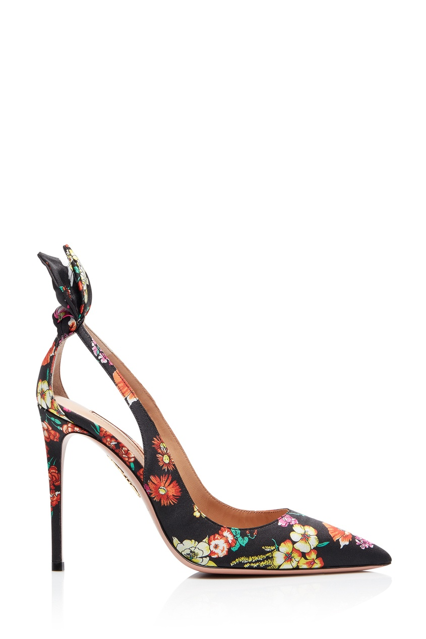 Черные туфли с цветочным принтом Deneuve 105 от Aquazzura