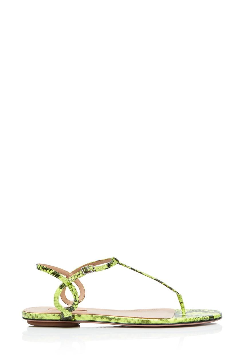 Неоново-зеленые сандалии Almost Bare от Aquazzura
