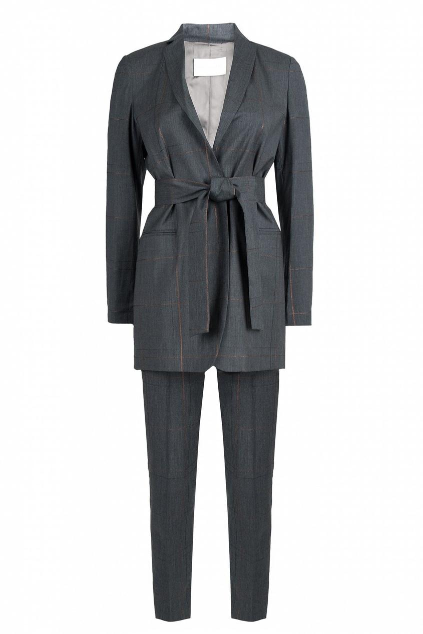 женский костюм в клетку fabiana filippi, серый