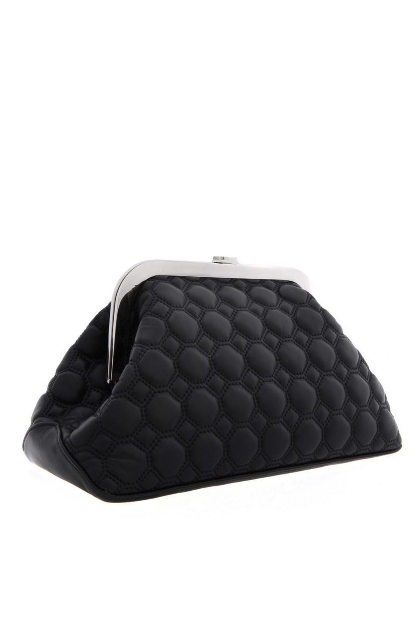 Фото 3 - Кожаный клатч от Rochas черного цвета