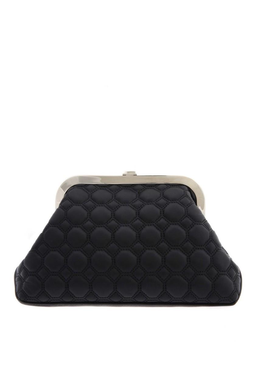 Фото 4 - Кожаный клатч от Rochas черного цвета