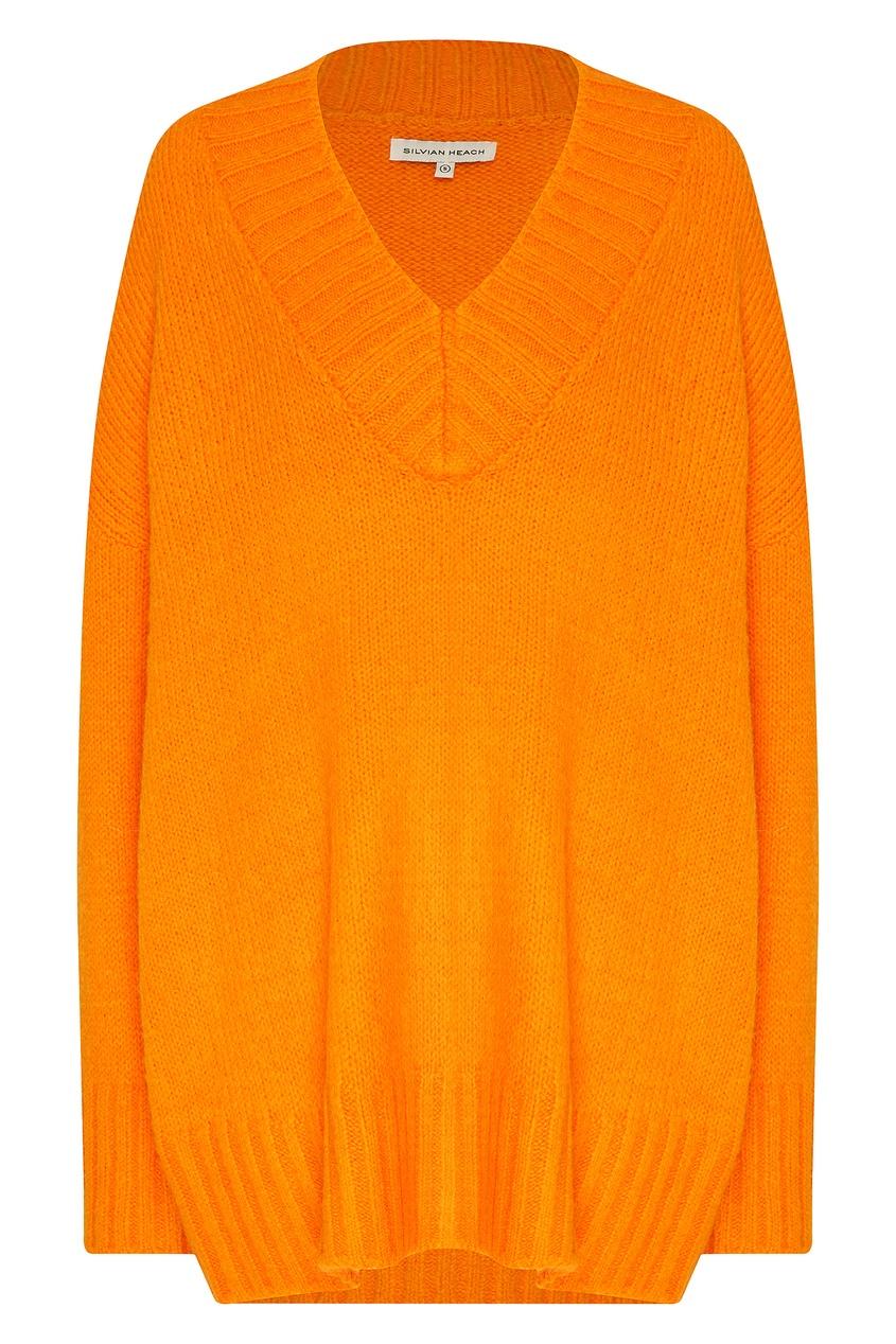 женский свитер с v-образным вырезом silvian heach, оранжевый