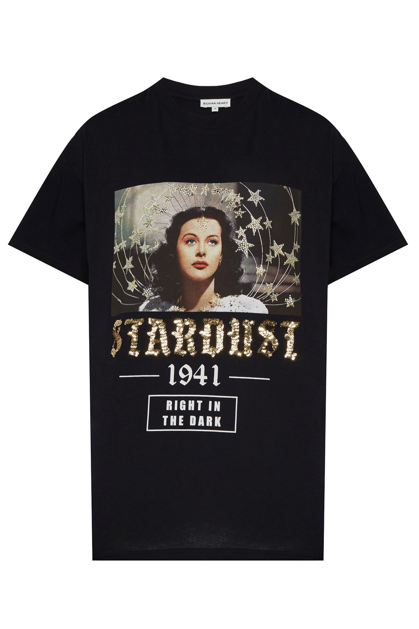 женская футболка с рисунком silvian heach, черная