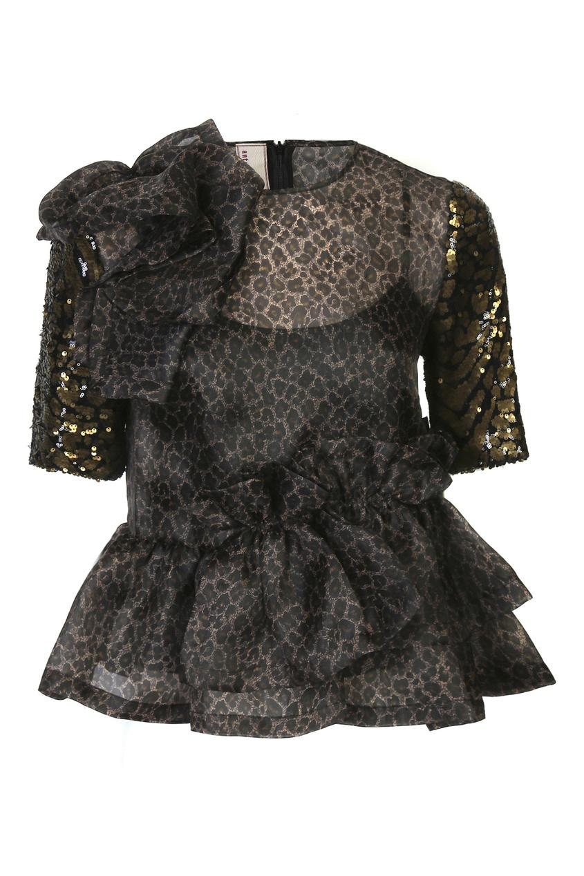 Черная блуза свободного кроя с узором декорированным пайетками фото