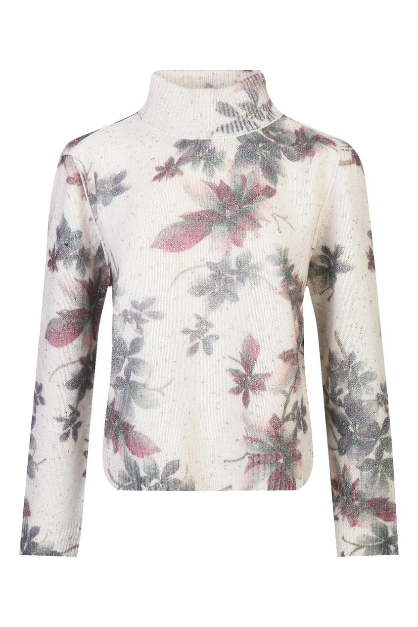 Белый шерстяной джемпер с цветочным узором от Antonio Marras