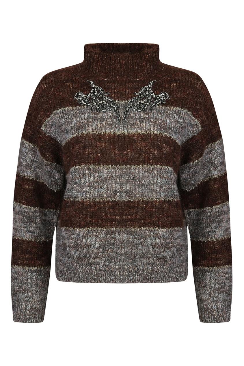 Коричневый свитер из мохера в полоску от Antonio Marras