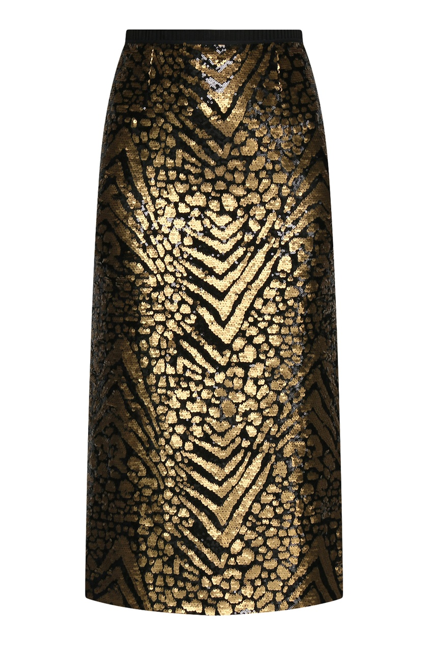 Черная юбка-карандаш декорированная пайетками Antonio Marras