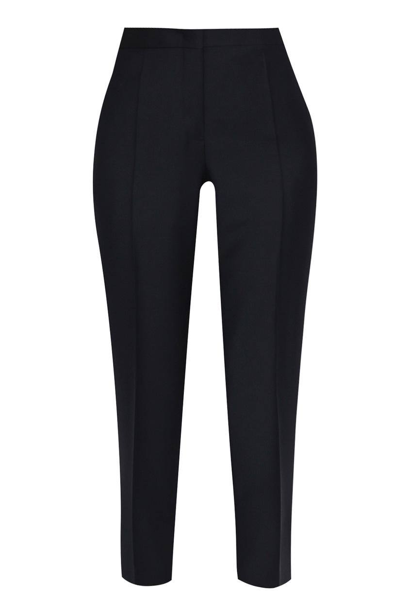 женские шерстяные брюки jil sander navy, синие
