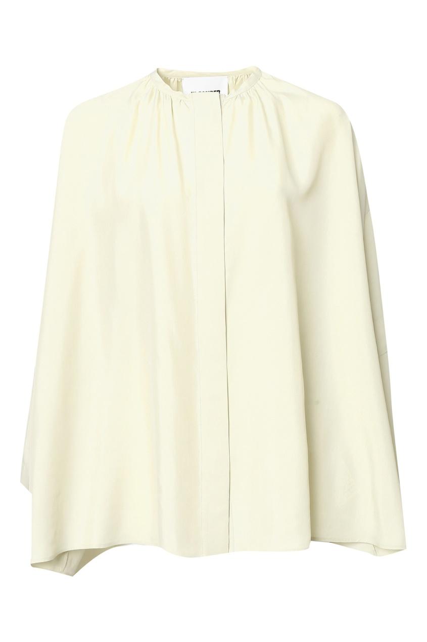 женская шелковые блузка jil sander navy, зеленая