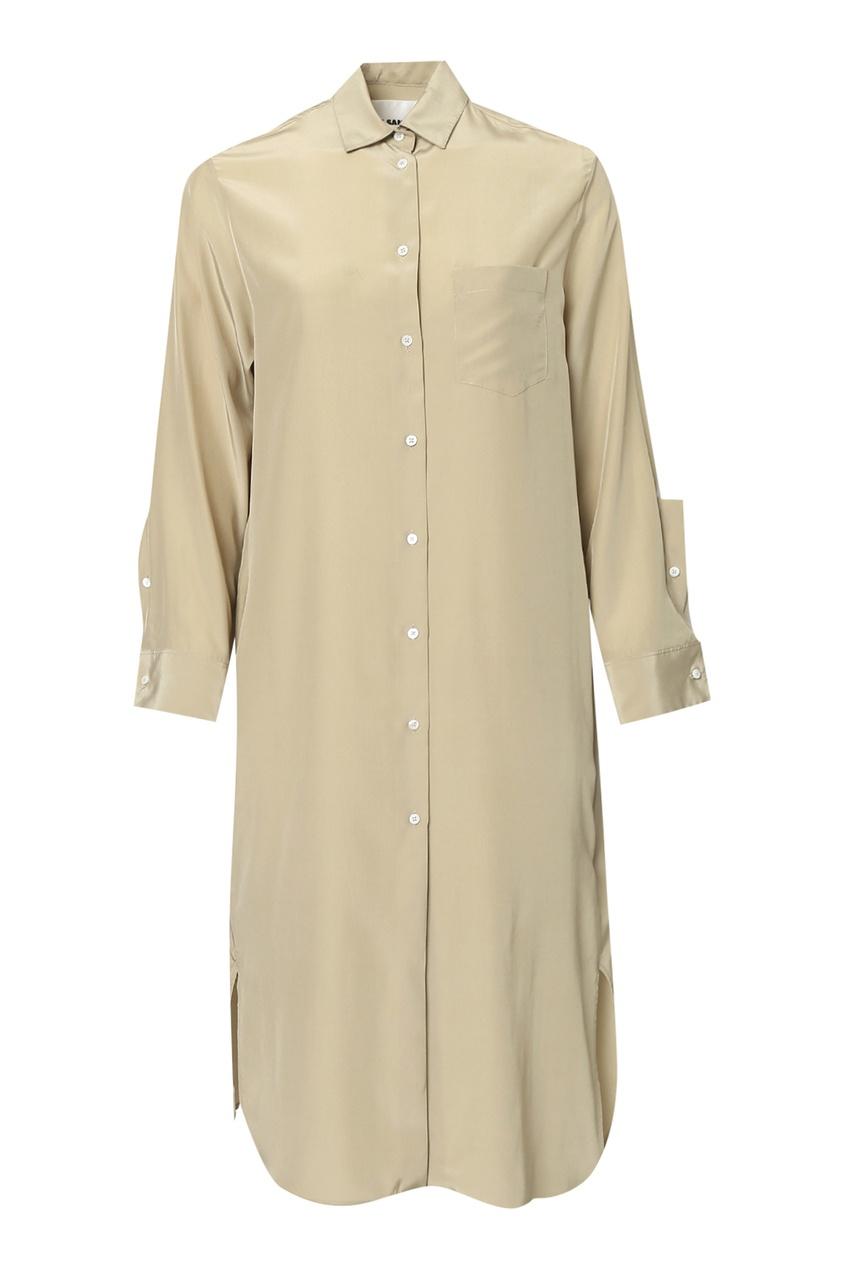 женское шелковые платье jil sander navy, зеленое